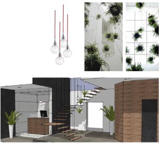 Plantas tipo cintya, luminaria de cristaly escalera suspendidas del lucernario del tejado